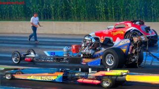 DRAG RACING OLD SCHOOL FRONT ENGINE SLINGSHOTS 10,000hp JET POWERED DRAGSTER AT GREAT LAKES DRAGWAY