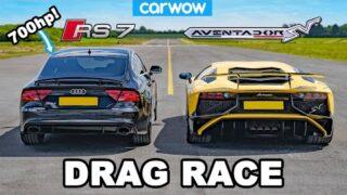 Lamborghini Aventador vs 700hp Audi RS7 – DRAG RACE