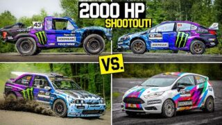 Ken Block's 1100hp Trophy Truck vs. 375hp Subaru STI vs. Cossie V2 vs. Fiesta R2. Who will win?
